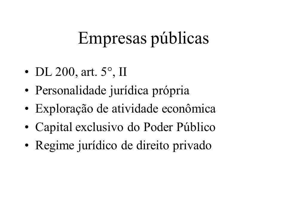 Empresas públicas DL 200, art. 5°, II Personalidade jurídica própria Exploração de atividade econômica Capital exclusivo do Poder Público Regime juríd