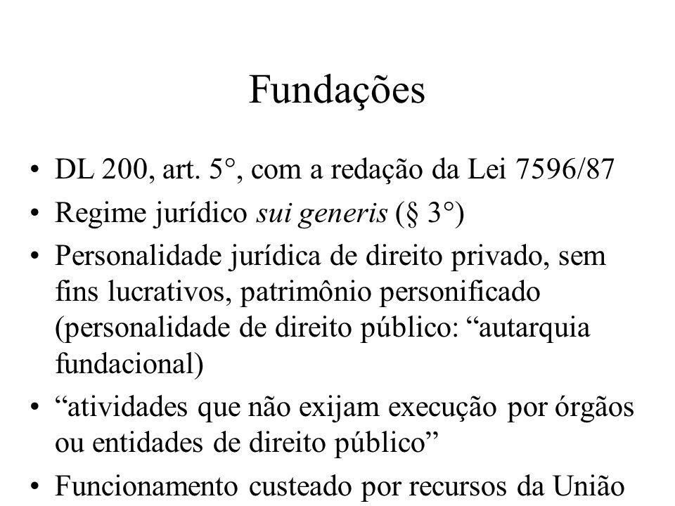 Fundações DL 200, art. 5°, com a redação da Lei 7596/87 Regime jurídico sui generis (§ 3°) Personalidade jurídica de direito privado, sem fins lucrati