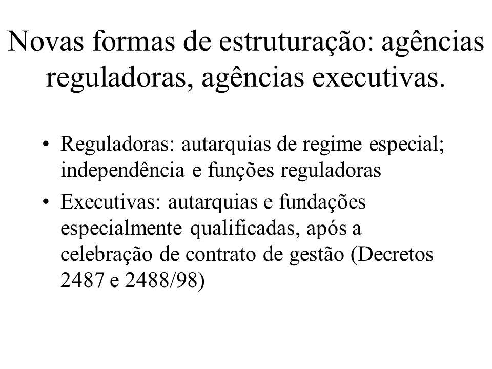 Novas formas de estruturação: agências reguladoras, agências executivas. Reguladoras: autarquias de regime especial; independência e funções regulador