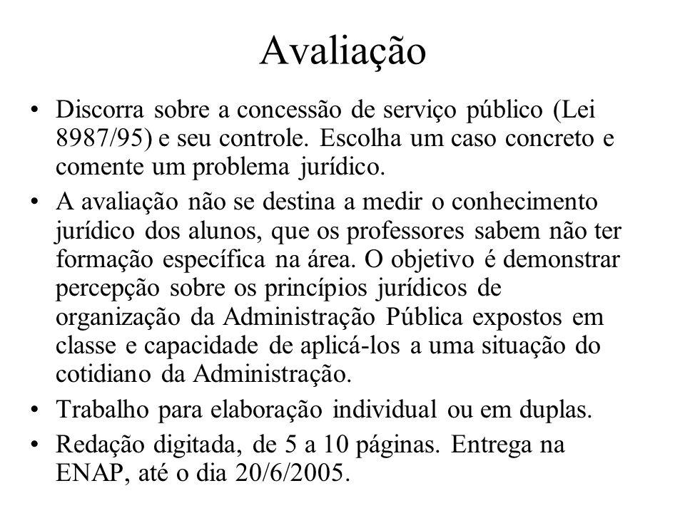 Avaliação Discorra sobre a concessão de serviço público (Lei 8987/95) e seu controle. Escolha um caso concreto e comente um problema jurídico. A avali