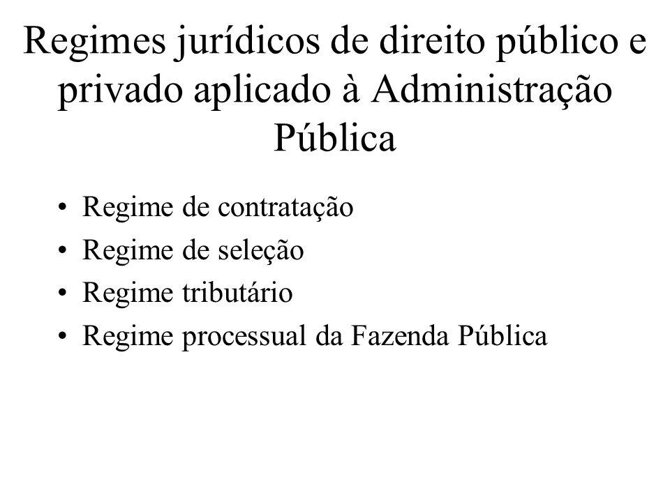 Regimes jurídicos de direito público e privado aplicado à Administração Pública Regime de contratação Regime de seleção Regime tributário Regime proce