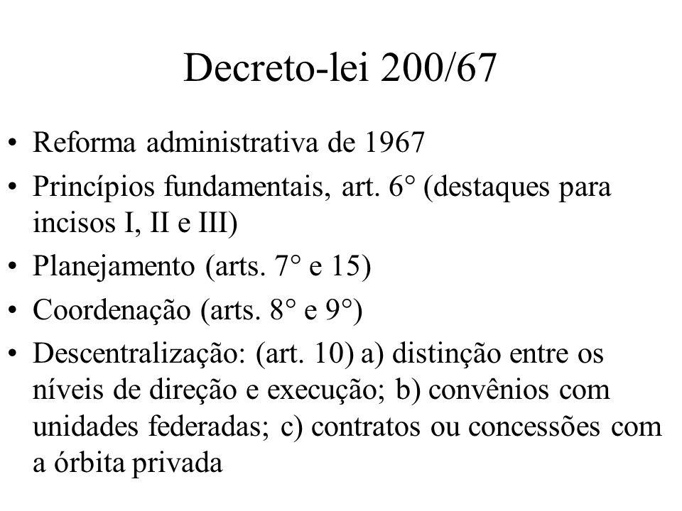 Decreto-lei 200/67 Reforma administrativa de 1967 Princípios fundamentais, art. 6° (destaques para incisos I, II e III) Planejamento (arts. 7° e 15) C