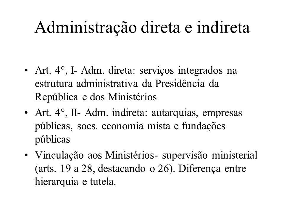 Administração direta e indireta Art. 4°, I- Adm. direta: serviços integrados na estrutura administrativa da Presidência da República e dos Ministérios