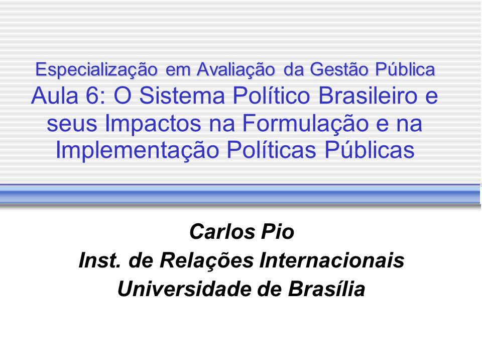 Especialização em Avaliação da Gestão Pública Especialização em Avaliação da Gestão Pública Aula 6: O Sistema Político Brasileiro e seus Impactos na F