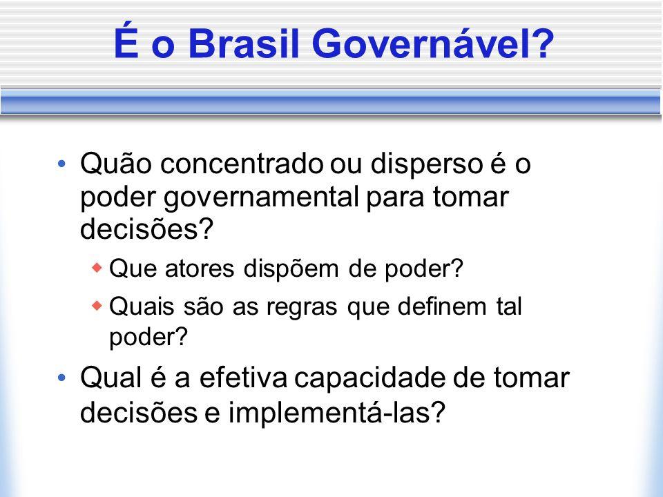 É o Brasil Governável? Quão concentrado ou disperso é o poder governamental para tomar decisões? Que atores dispõem de poder? Quais são as regras que