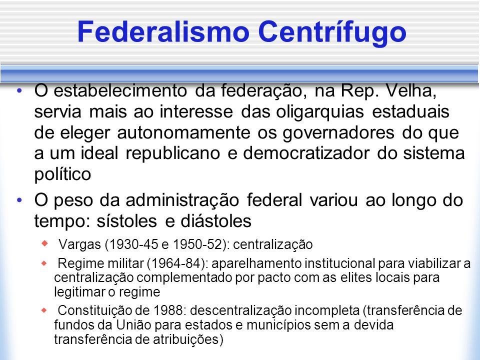 Federalismo Centrífugo O estabelecimento da federação, na Rep. Velha, servia mais ao interesse das oligarquias estaduais de eleger autonomamente os go