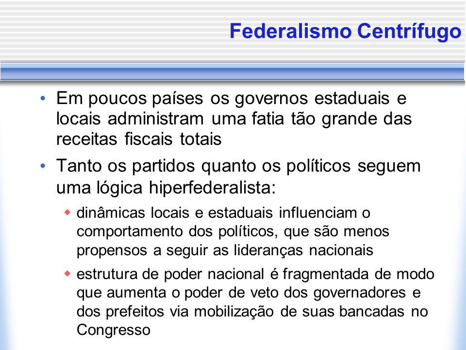 Federalismo Centrífugo Em poucos países os governos estaduais e locais administram uma fatia tão grande das receitas fiscais totais Tanto os partidos