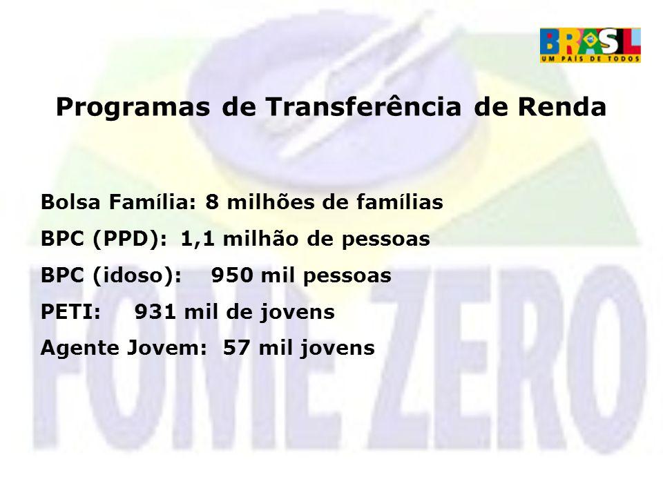 Programas de Transferência de Renda Bolsa Fam í lia: 8 milhões de fam í lias BPC (PPD): 1,1 milhão de pessoas BPC (idoso): 950 mil pessoas PETI: 931 m