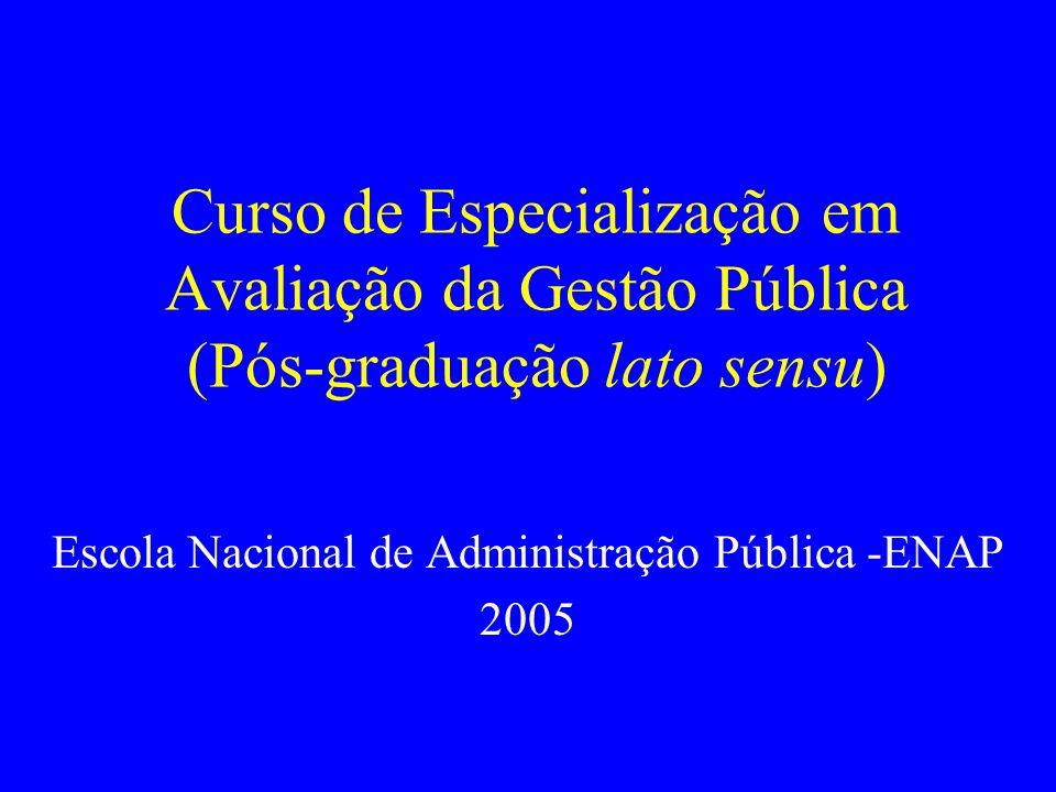 Curso de Especialização em Avaliação da Gestão Pública (Pós-graduação lato sensu) Escola Nacional de Administração Pública -ENAP 2005