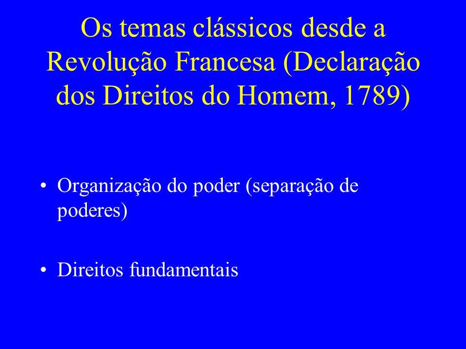 Os temas clássicos desde a Revolução Francesa (Declaração dos Direitos do Homem, 1789) Organização do poder (separação de poderes) Direitos fundamentais