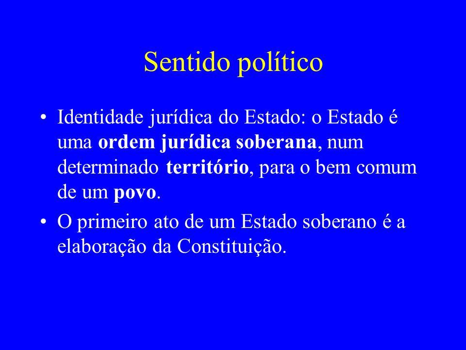 Sentido político Identidade jurídica do Estado: o Estado é uma ordem jurídica soberana, num determinado território, para o bem comum de um povo.