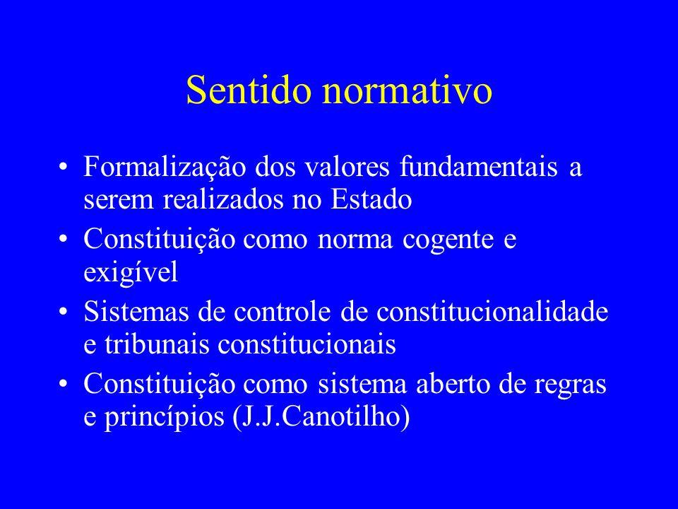 Sentido normativo Formalização dos valores fundamentais a serem realizados no Estado Constituição como norma cogente e exigível Sistemas de controle de constitucionalidade e tribunais constitucionais Constituição como sistema aberto de regras e princípios (J.J.Canotilho)