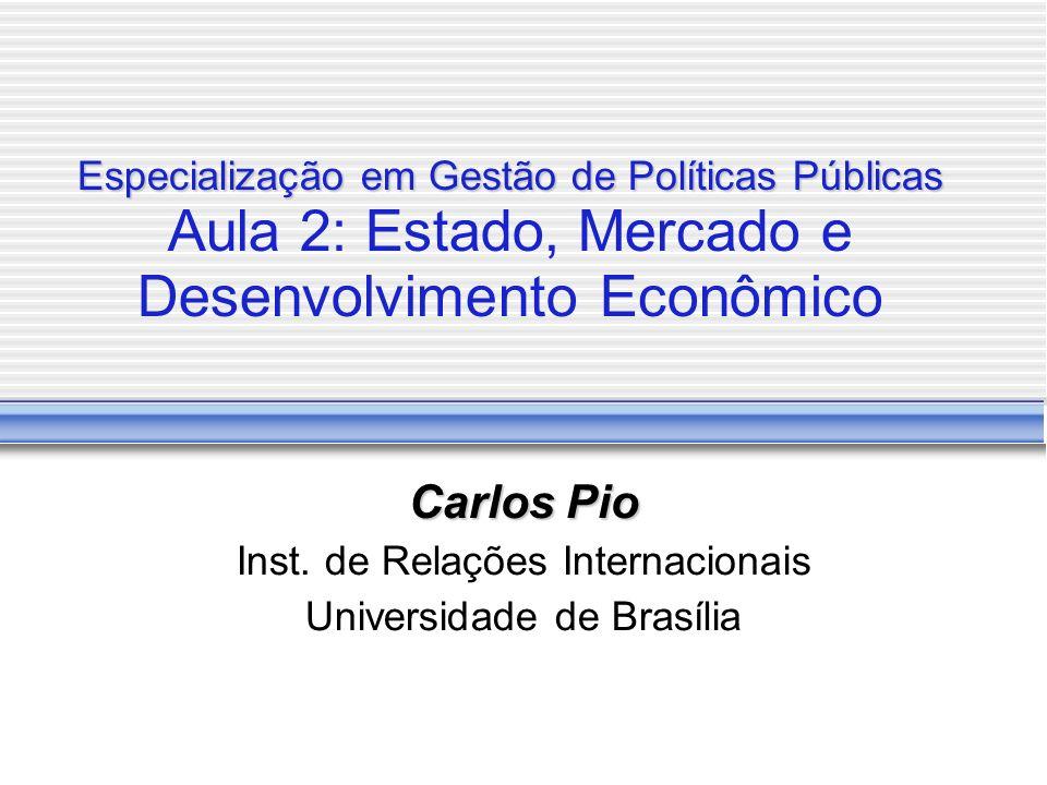 Especialização em Gestão de Políticas Públicas Especialização em Gestão de Políticas Públicas Aula 2: Estado, Mercado e Desenvolvimento Econômico Carlos Pio Inst.