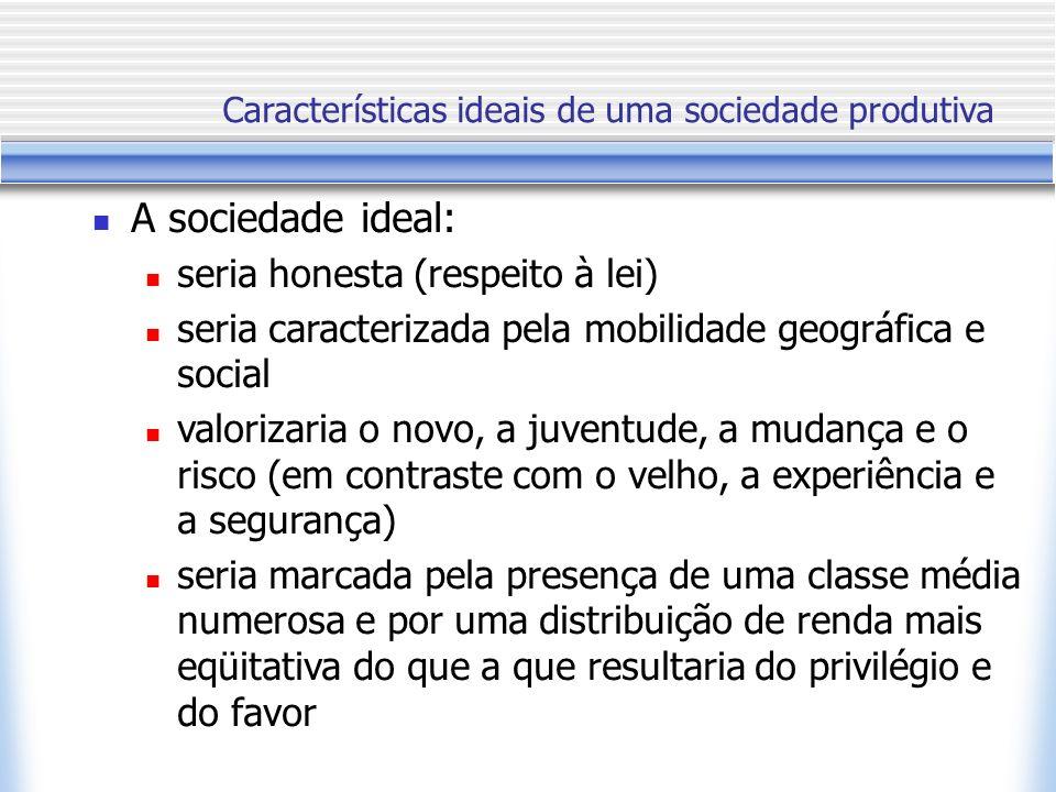 A sociedade ideal: seria honesta (respeito à lei) seria caracterizada pela mobilidade geográfica e social valorizaria o novo, a juventude, a mudança e