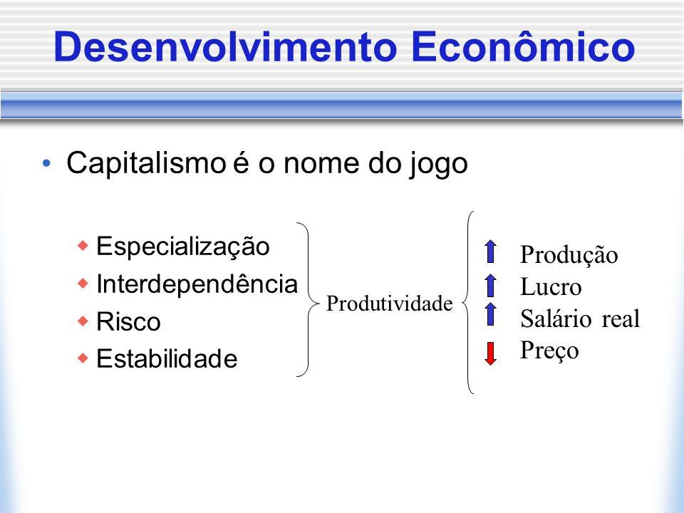 Desenvolvimento Econômico Capitalismo é o nome do jogo Especialização Interdependência Risco Estabilidade Produtividade Produção Lucro Salário real Pr