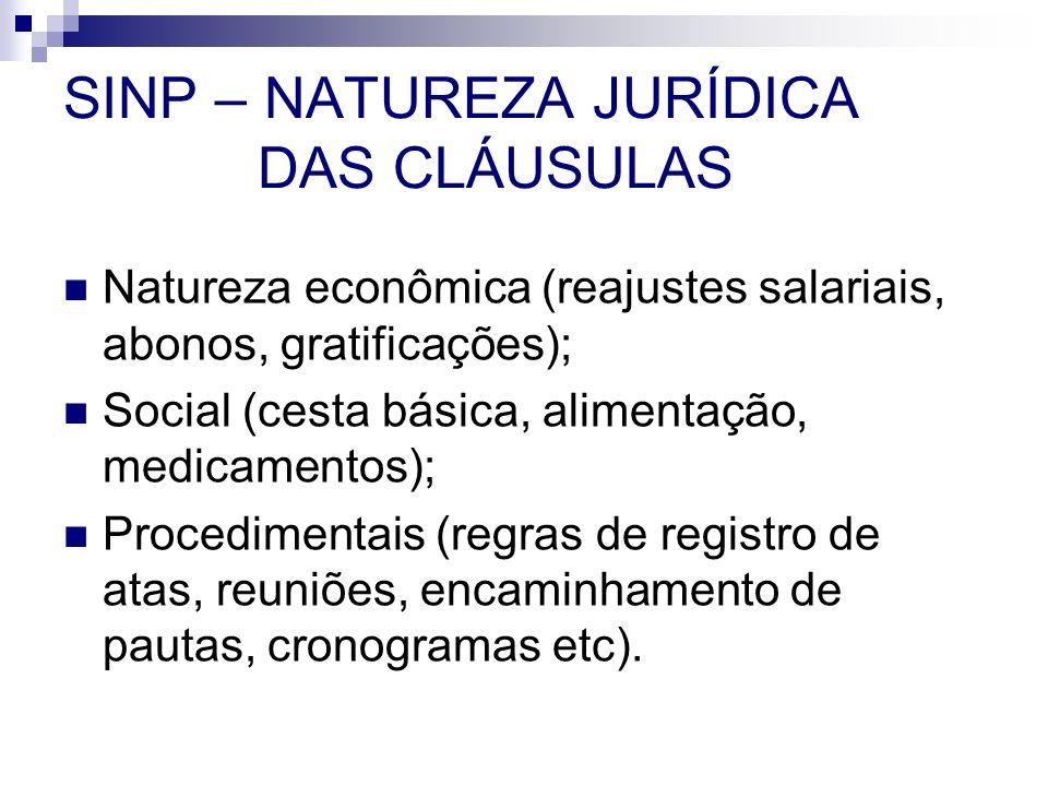 SINP – NATUREZA JURÍDICA DAS CLÁUSULAS Natureza econômica (reajustes salariais, abonos, gratificações); Social (cesta básica, alimentação, medicamento
