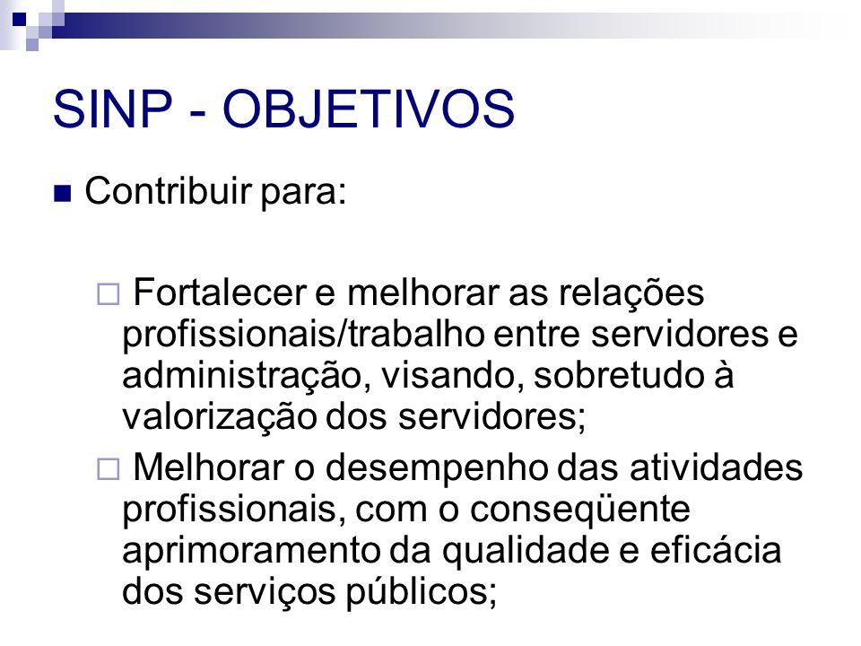 SINP - OBJETIVOS Contribuir para: Fortalecer e melhorar as relações profissionais/trabalho entre servidores e administração, visando, sobretudo à valo