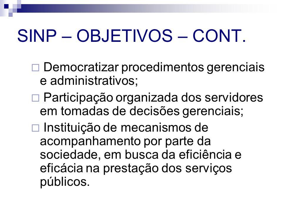 SINP – OBJETIVOS – CONT. Democratizar procedimentos gerenciais e administrativos; Participação organizada dos servidores em tomadas de decisões gerenc