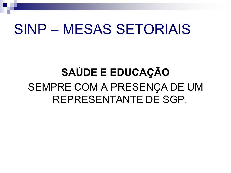 SINP – MESAS SETORIAIS SAÚDE E EDUCAÇÃO SEMPRE COM A PRESENÇA DE UM REPRESENTANTE DE SGP.