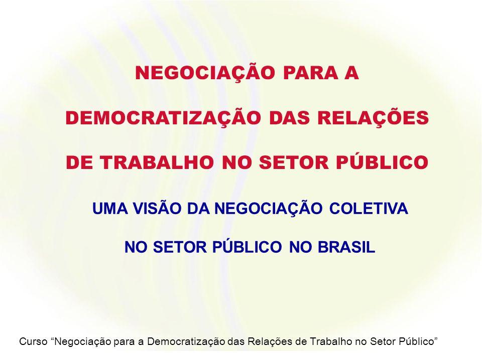 Curso Negociação para a Democratização das Relações de Trabalho no Setor Público VISÃO DA NEGOCIAÇÃO COLETIVA NO SETOR PÚBLICO NO BRASIL 1.