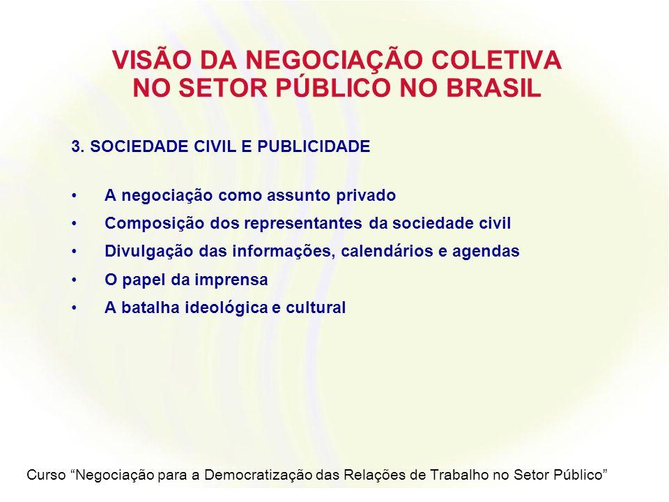 Curso Negociação para a Democratização das Relações de Trabalho no Setor Público VISÃO DA NEGOCIAÇÃO COLETIVA NO SETOR PÚBLICO NO BRASIL 4.
