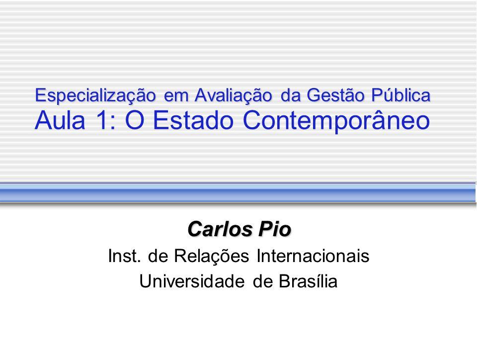Especialização em Avaliação da Gestão Pública Especialização em Avaliação da Gestão Pública Aula 1: O Estado Contemporâneo Carlos Pio Inst.