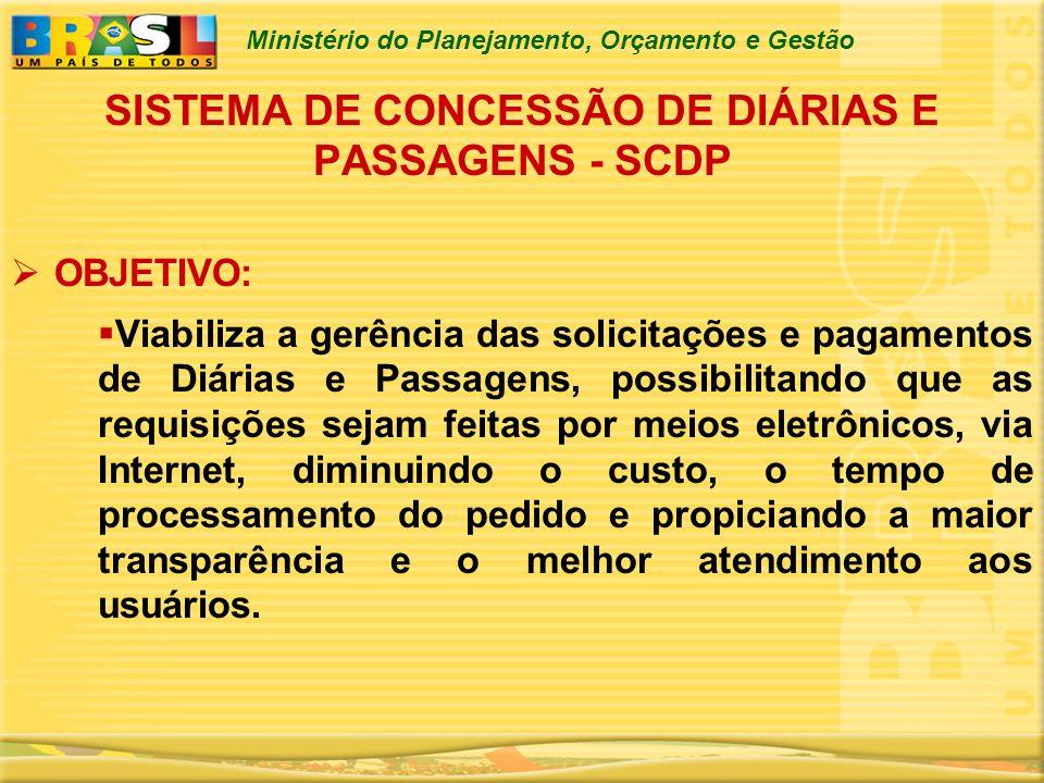 Ministério do Planejamento, Orçamento e Gestão SISTEMA DE CONCESSÃO DE DIÁRIAS E PASSAGENS - SCDP OBJETIVO: Viabiliza a gerência das solicitações e pa