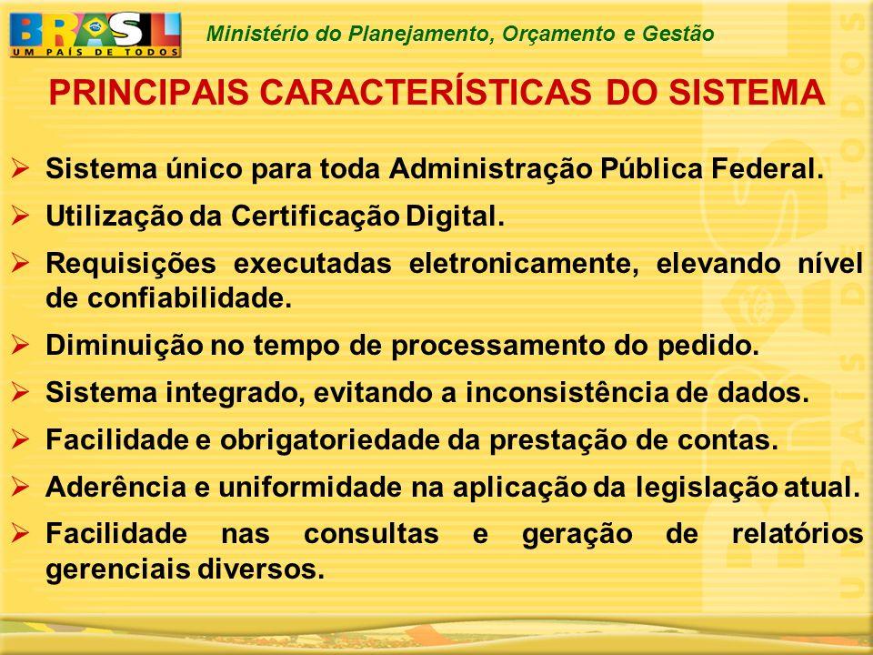 Ministério do Planejamento, Orçamento e Gestão PRINCIPAIS CARACTERÍSTICAS DO SISTEMA Sistema único para toda Administração Pública Federal. Utilização