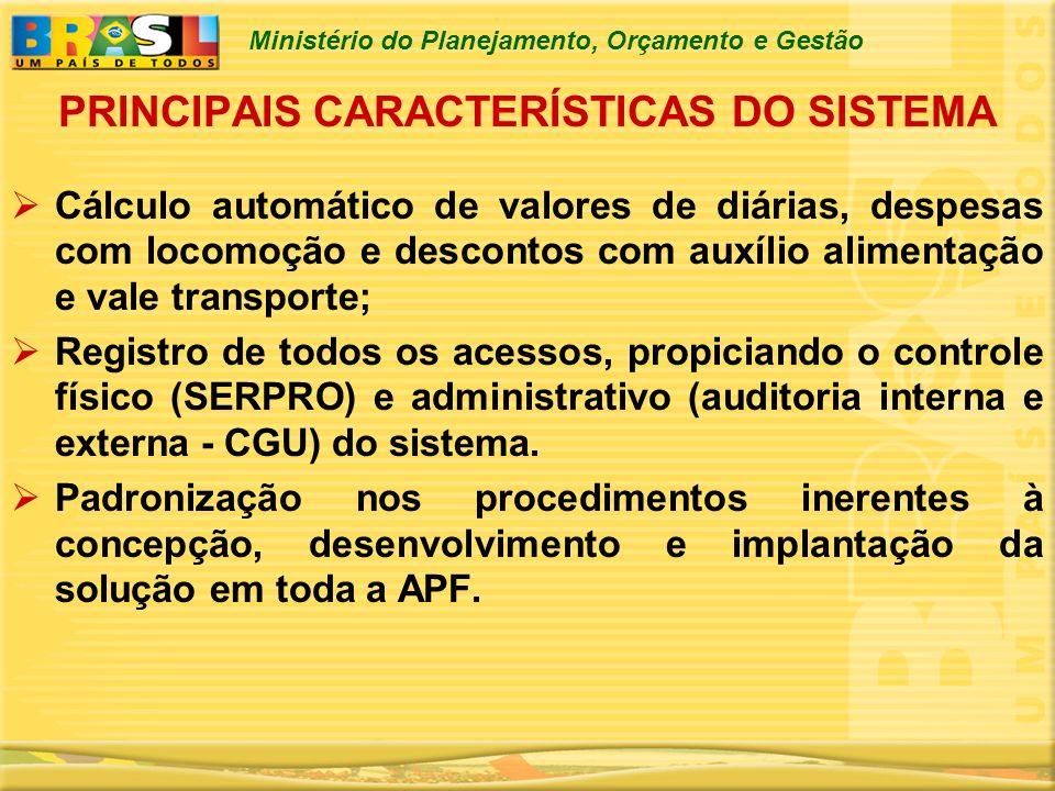 Ministério do Planejamento, Orçamento e Gestão Cálculo automático de valores de diárias, despesas com locomoção e descontos com auxílio alimentação e