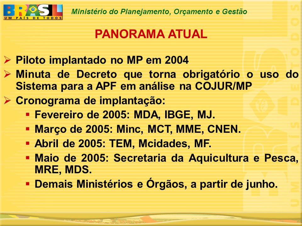 Ministério do Planejamento, Orçamento e Gestão PANORAMA ATUAL Piloto implantado no MP em 2004 Minuta de Decreto que torna obrigatório o uso do Sistema