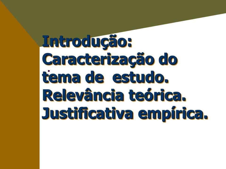 Introdução: Caracterização do tema de estudo. Relevância teórica. Justificativa empírica.
