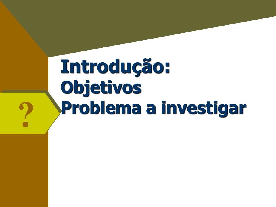 Introdução: Objetivos Problema a investigar ? ?