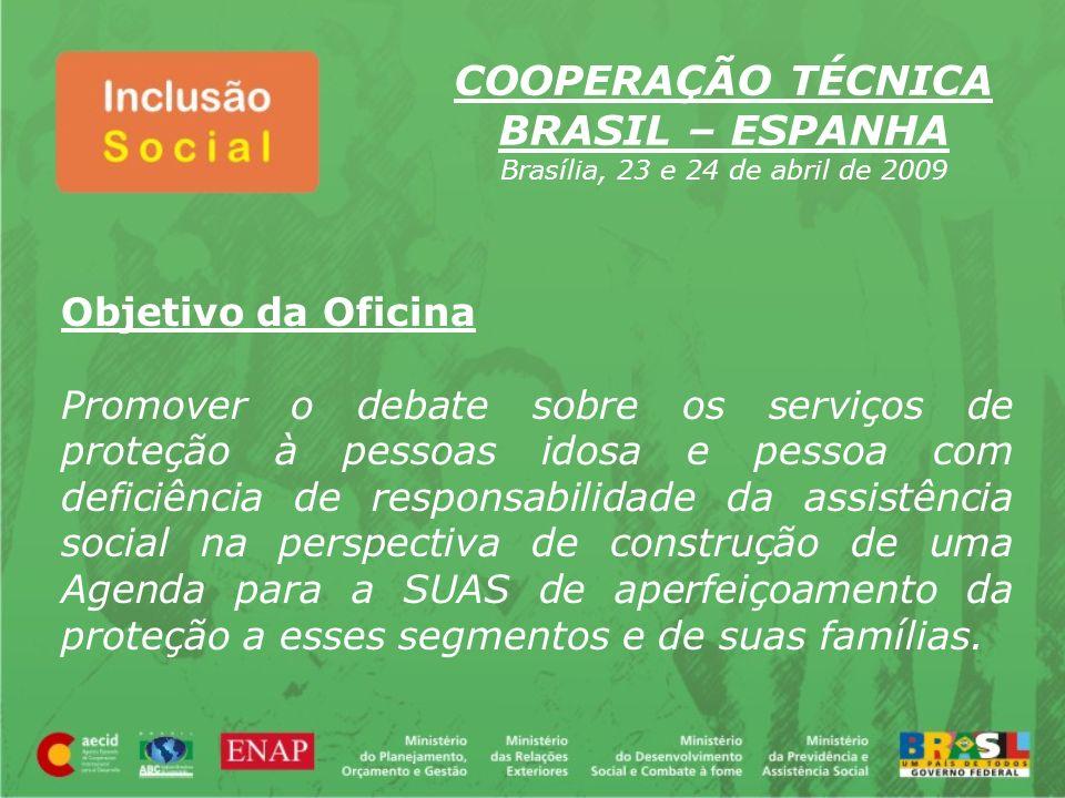 Objetivo da Oficina Promover o debate sobre os serviços de proteção à pessoas idosa e pessoa com deficiência de responsabilidade da assistência social