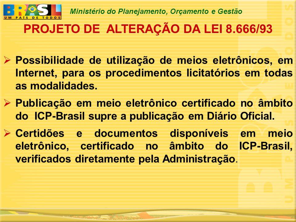 Ministério do Planejamento, Orçamento e Gestão Possibilidade de utilização de meios eletrônicos, em Internet, para os procedimentos licitatórios em to