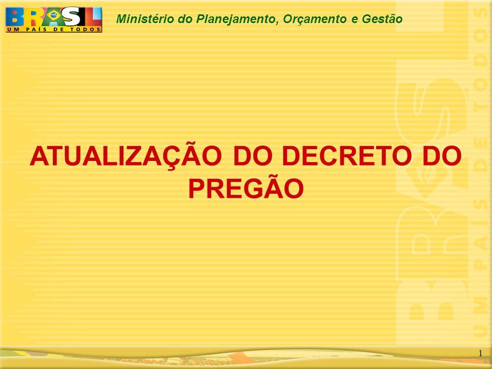 Ministério do Planejamento, Orçamento e Gestão 1 ATUALIZAÇÃO DO DECRETO DO PREGÃO