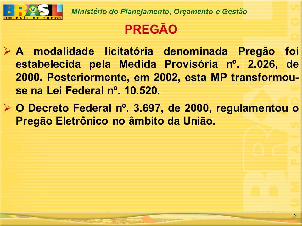 Ministério do Planejamento, Orçamento e Gestão 3 CARACTERÍSTICAS DO DECRETO VIGENTE Está desatualizado em relação a Lei e frente a evolução do Pregão nestes cinco últimos anos.