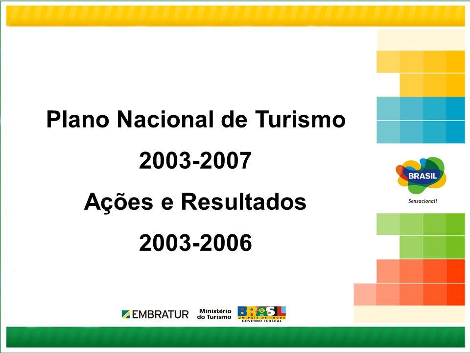 Contexto Janeiro de 2003 – Criado o Ministério do Turismo – EMBRATUR passa a cuidar exclusivamente da promoção, marketing e apoio à comercialização dos produtos, serviços e destinos turísticos brasileiros no exterior Abril de 2003 – Lançado o Plano Nacional de Turismo (PNT) com metas até 2007