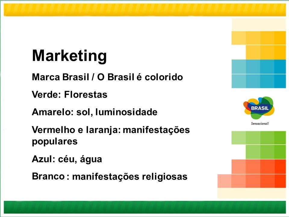 Marketing Marca Brasil / O Brasil é colorido Verde: Florestas Amarelo: sol, luminosidade Vermelho e laranja: manifestações populares Azul: céu, água :