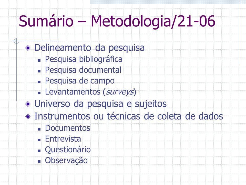 Sumário – Metodologia/21-06 Delineamento da pesquisa Pesquisa bibliográfica Pesquisa documental Pesquisa de campo Levantamentos (surveys) Universo da