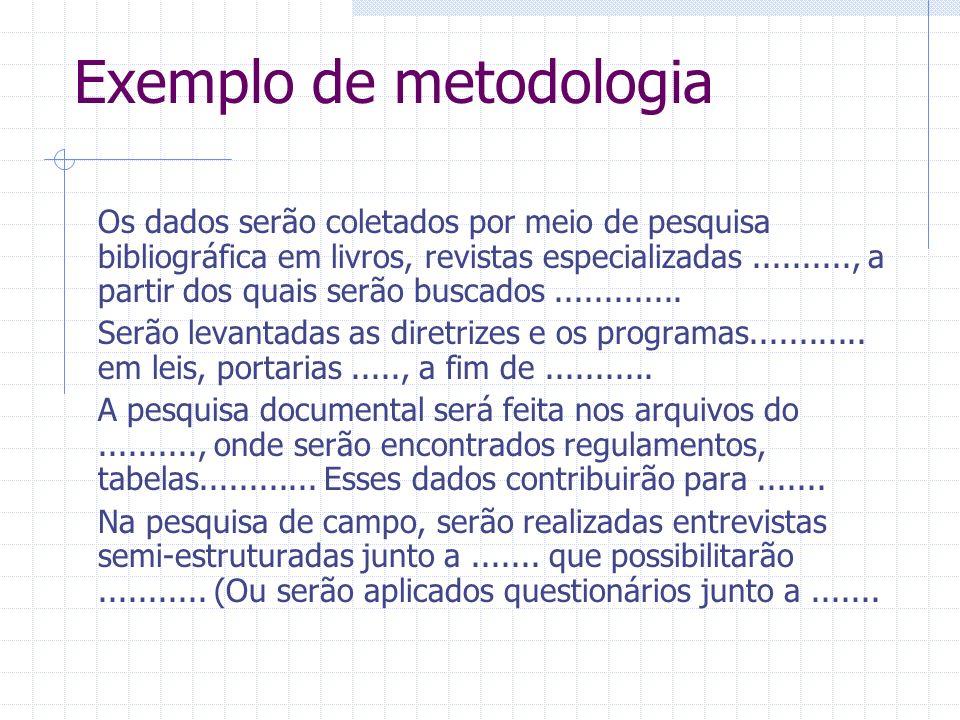 Exemplo de metodologia Os dados serão coletados por meio de pesquisa bibliográfica em livros, revistas especializadas.........., a partir dos quais se