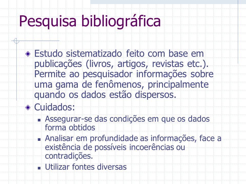 Pesquisa bibliográfica Estudo sistematizado feito com base em publicações (livros, artigos, revistas etc.). Permite ao pesquisador informações sobre u