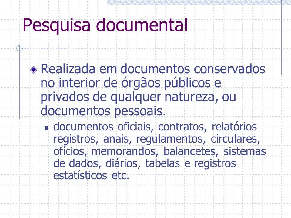 Pesquisa documental Realizada em documentos conservados no interior de órgãos públicos e privados de qualquer natureza, ou documentos pessoais. docume