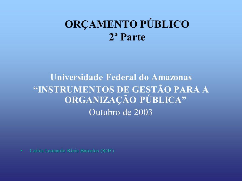 ORÇAMENTO PÚBLICO 2ª Parte Universidade Federal do Amazonas INSTRUMENTOS DE GESTÃO PARA A ORGANIZAÇÃO PÚBLICA Outubro de 2003 Carlos Leonardo Klein Ba