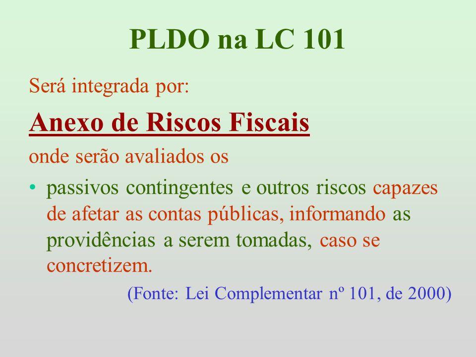 PLDO na LC 101 Será integrada por: Anexo de Riscos Fiscais onde serão avaliados os passivos contingentes e outros riscos capazes de afetar as contas p