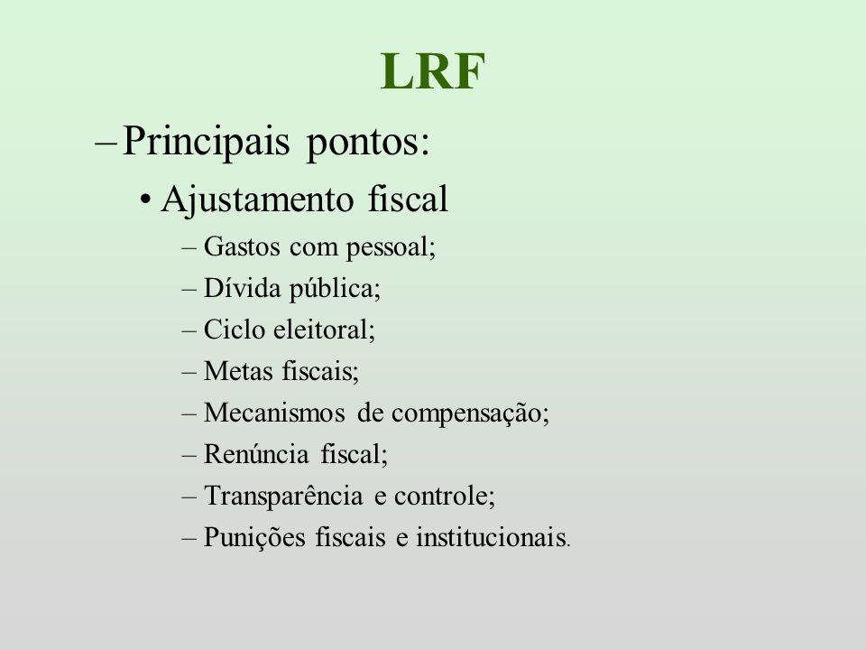 LRF –Principais pontos: Ajustamento fiscal –Gastos com pessoal; –Dívida pública; –Ciclo eleitoral; –Metas fiscais; –Mecanismos de compensação; –Renúnc