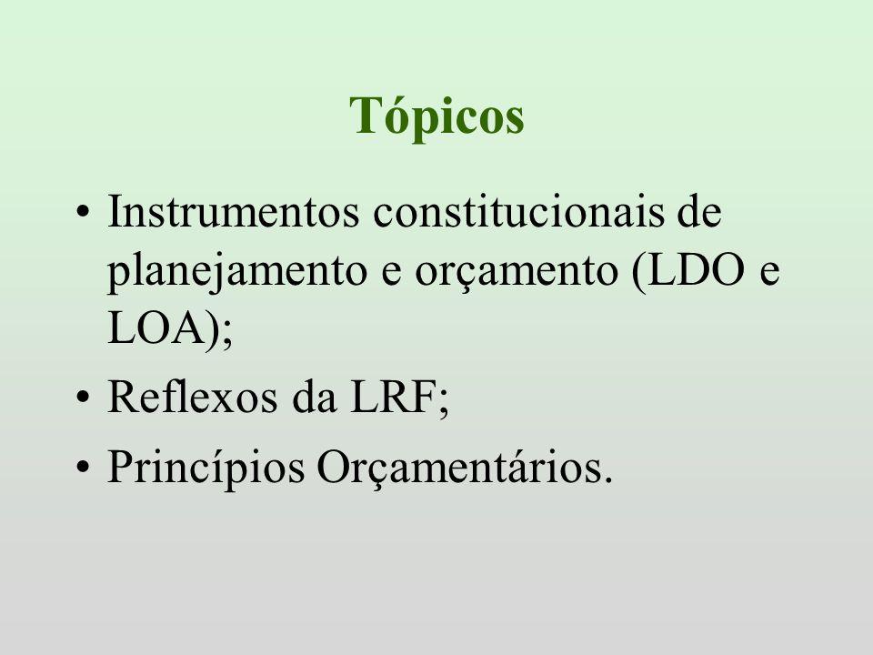 Tópicos Instrumentos constitucionais de planejamento e orçamento (LDO e LOA); Reflexos da LRF; Princípios Orçamentários.