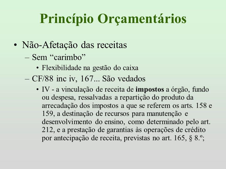 Princípio Orçamentários Não-Afetação das receitas –Sem carimbo Flexibilidade na gestão do caixa –CF/88 inc iv, 167... São vedados IV - a vinculação de