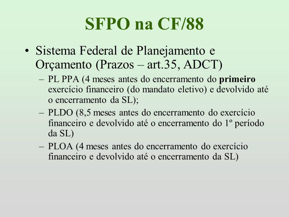 SFPO na CF/88 Sistema Federal de Planejamento e Orçamento (Prazos – art.35, ADCT) –PL PPA (4 meses antes do encerramento do primeiro exercício finance