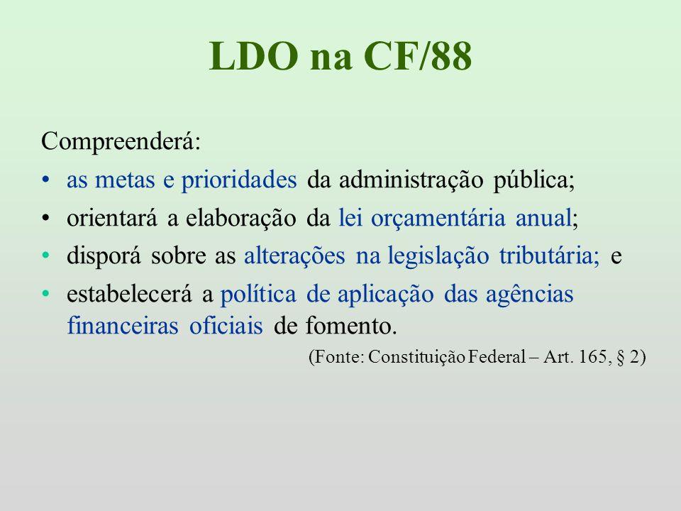 LDO na CF/88 Compreenderá: as metas e prioridades da administração pública; orientará a elaboração da lei orçamentária anual; disporá sobre as alteraç