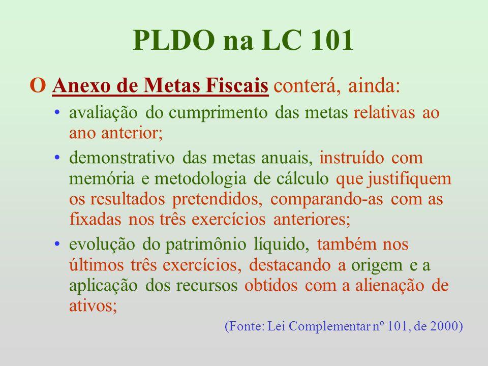 PLDO na LC 101 O Anexo de Metas Fiscais conterá, ainda: avaliação do cumprimento das metas relativas ao ano anterior; demonstrativo das metas anuais,